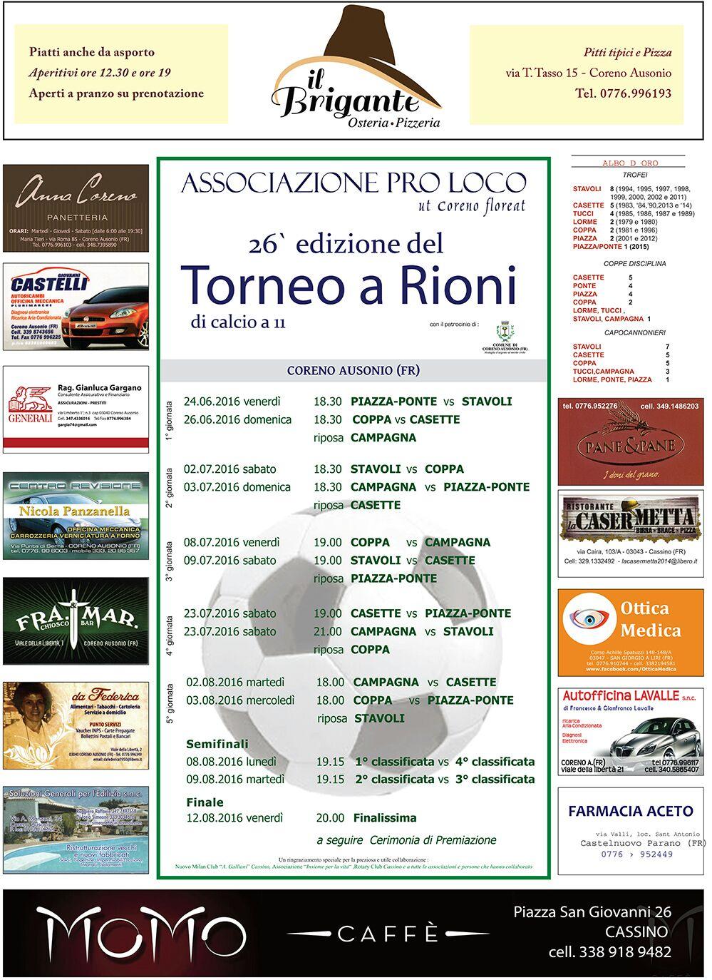Calendario torneo a rioni 2016