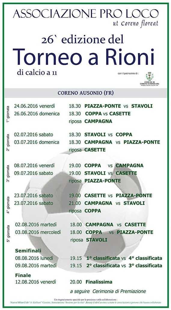 Calendario torneo a rioni 2016senza sponsor
