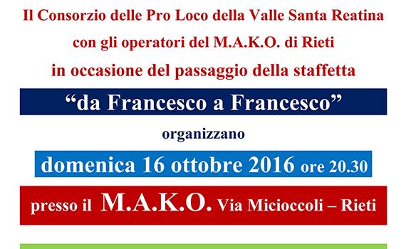 "La staffetta ""Da Francesco a Francesco"" e la Valle Santa Reatina"