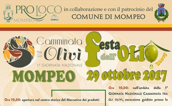 """A Mompeo è pronta la """"Festa dell'Olio nuovo"""""""